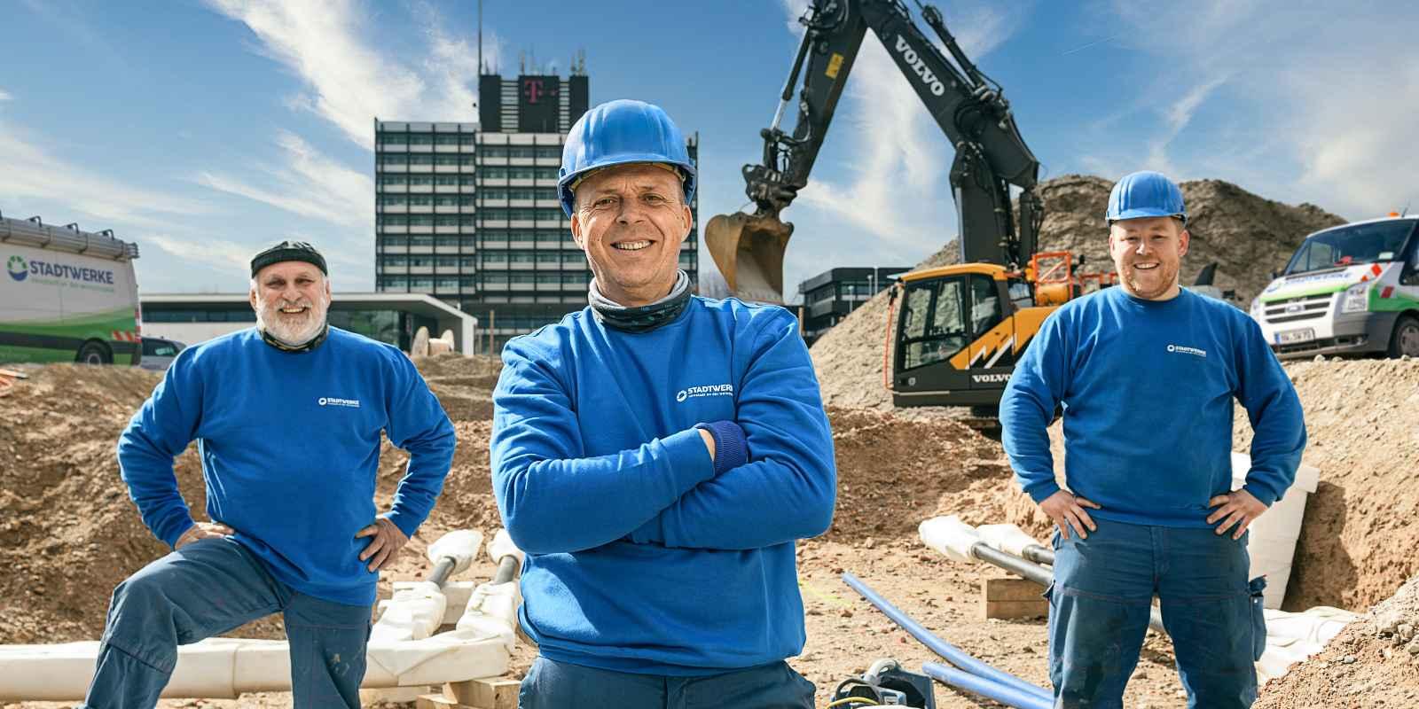 Stadtwerke Neustadt Service Kachel Bauherren Arbeiter